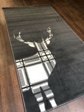 Modern Rugs  5x2ft6 80x150cm Woven Good Quality Stag check Dark Grey Rugs-Mats
